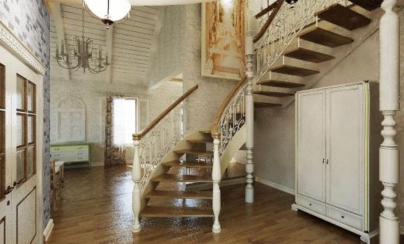 Лестница в интерьере стиля прованс