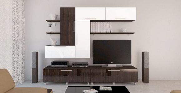 Модульная мебельная стенка в гостиной комнате