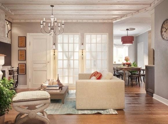 Потолок в интерьере стиля прованс