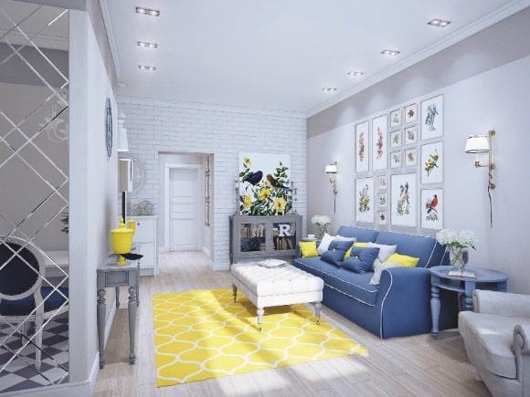 Синяя с желтым гостиная в стиле прованс