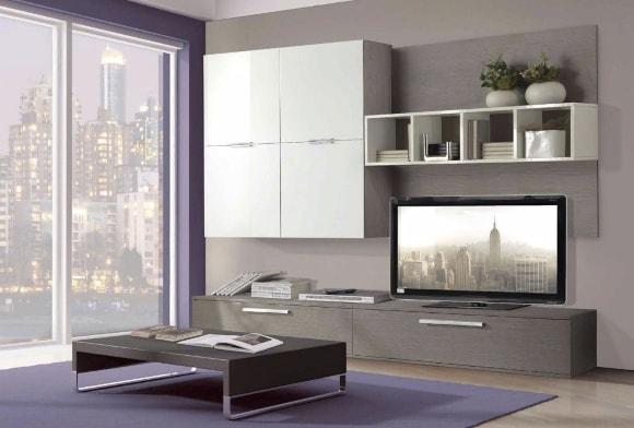 Современная стенка из отдельных модулей в гостиной комнате