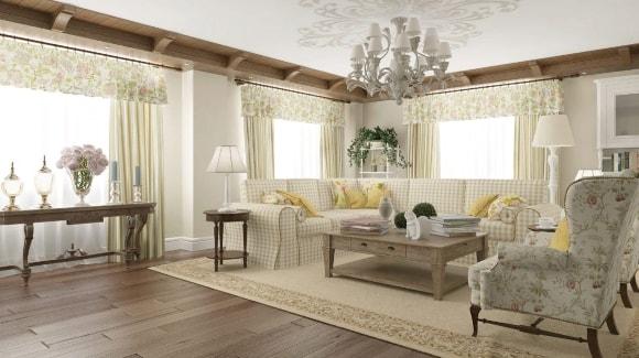 Стиль прованс в дизайне интерьера гостиной