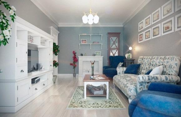 Стиль прованс в дизайне интерьера зала